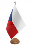 Czech Republic Desk / Table Flag with wooden stand and base